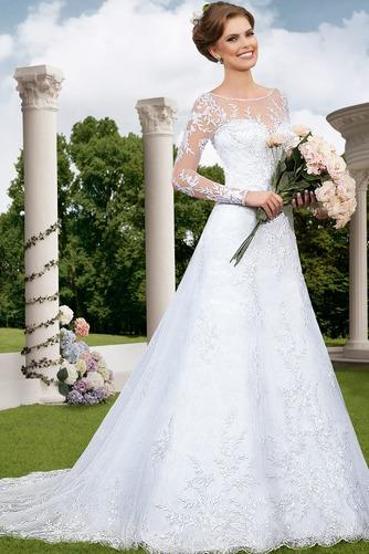Vestido de novia Sala Natural Alto cubierto largo Apliques Manga larga - Página 1