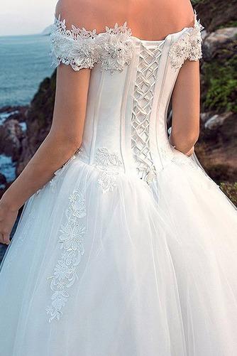 Vestido de novia largo tul primavera Bola Cordón Escote con Hombros caídos - Página 3
