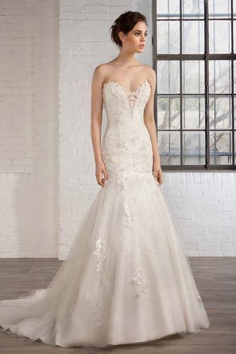 Vestido de novia tul Natural Apliques Espalda Descubierta Escote Corazón - Página 3