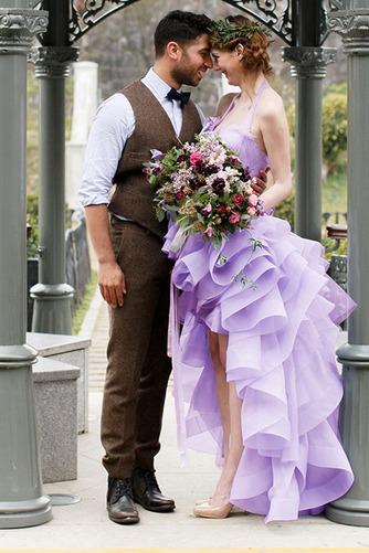 Vestido de novia Asimétrico Dobladillo Romántico Corte-A Escalonado - Página 1
