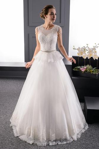 Vestido de novia Espalda con ojo de cerradura Natural tul Joya primavera - Página 1