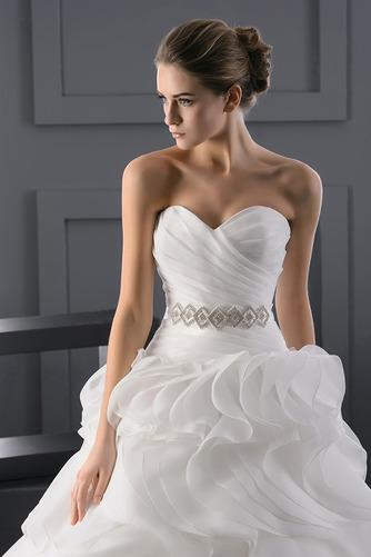 Vestido de novia Escote Corazón largo Organza primavera Formal Escalonado - Página 3