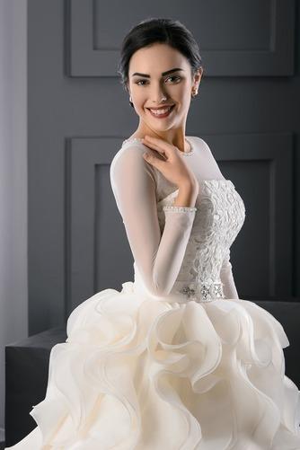 Vestido de novia Corte princesa Moderno Joya Organza Invierno Cordón - Página 3