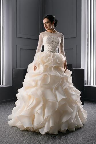 Vestido de novia Corte princesa Moderno Joya Organza Invierno Cordón - Página 1