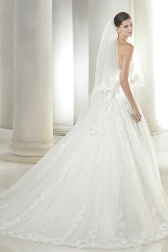 Vestido de novia Otoño Apliques Corte-A Cola Capilla Cremallera Con velo - Página 2