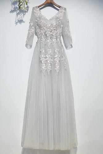 Vestido de dama de honor Capa de encaje Drapeado Hasta el suelo Elegante Natural - Página 1