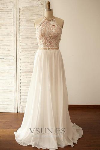 Vestido de novia Encaje Cinturón de cuentas Natural Fuera de casa Corte-A - Página 1