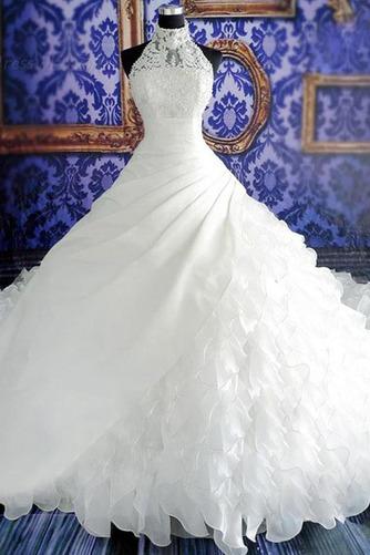 Vestido de novia Natural Corte-A Sin mangas Organza Iglesia Cremallera - Página 1