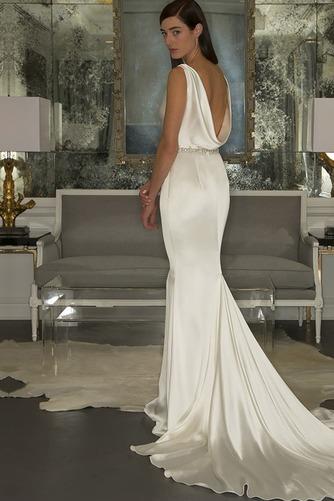 Vestido de novia Natural Otoño largo Cuello vuelto Volantes Adorno Espalda medio descubierto - Página 2
