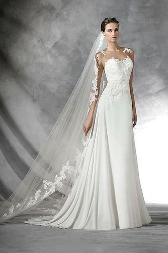 Vestido de novia Con velo Moderno Apliques Natural Corte Recto Gasa - Página 1