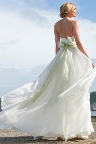 Vestido de novia Escote Corazón Natural Sin mangas Cristal Cola Barriba - Página 2