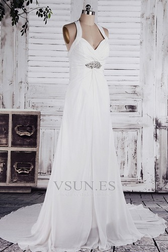Vestido de novia Imperio Sin mangas Otoño Tallas pequeñas Cola Corte - Página 2