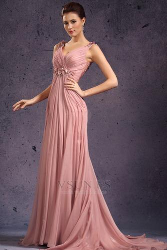 Vestido de noche Rosa Perla Cola Barriba Imperio Rosetón Acentuado Blusa plisada - Página 3