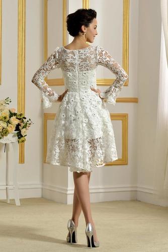 Vestido de novia Encaje Cremallera Natural Capa de encaje Barco Encaje - Página 2