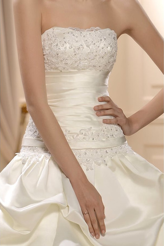 Vestido de novia Sin tirantes Satén Otoño Natural largo Abalorio - Página 4
