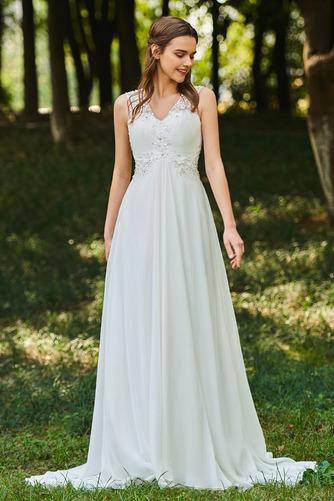 Vestido de novia Romántico Natural Escote en V largo Botón Sin mangas - Página 1