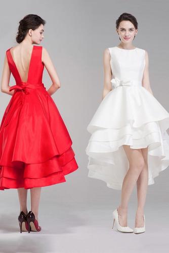Vestido de novia Satén Playa Romántico Escalonado Natural Delgado - Página 3