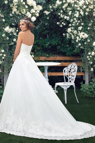 Vestido de novia Botón Escote Corazón Corte-A Encaje Espalda Descubierta - Página 2