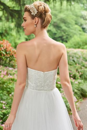 Vestido de novia Triángulo Invertido Otoño Sin tirantes Corte-A tul - Página 5