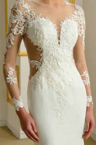 Vestido de novia Encaje Corte Recto Natural Espalda Descubierta Fuera de casa - Página 4
