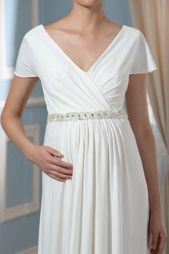 Vestido de novia Embarazadas Cola Barriba Imperio Cintura Espalda Descubierta - Página 4