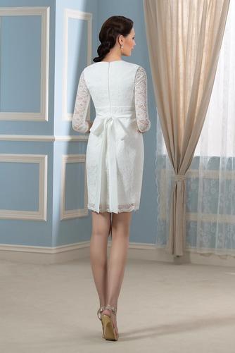 Vestido de novia vendimia Cremallera Encaje Escote en V Mangas Illusion - Página 3