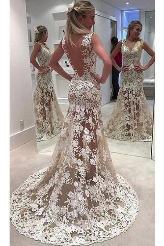 Vestido de novia Corte Sirena Transparente Escote en V Falta Pura espalda - Página 1