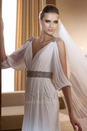Vestido de novia estilo griego Con velo Abalorio Blanco Moderno Otoño - Página 3