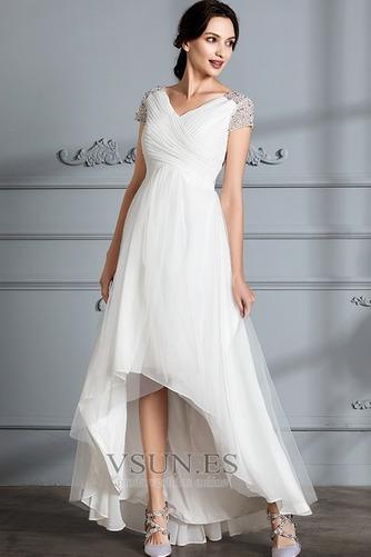 Vestido de novia Verano Manga corta Falta Asimétrico Dobladillo Plisado - Página 5