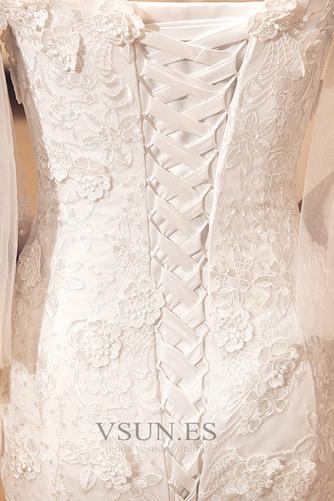 Vestido de novia Natural La mitad de manga Escote con Hombros caídos - Página 3