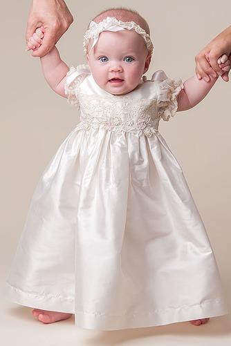 Vestido de Bautizo Joya Hasta el suelo Satén Alto cubierto Corte princesa - Página 1