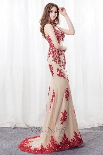Vestido de noche Corte Sirena primavera Apliques Pera Escote con cuello Alto - Página 1