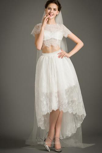 Vestido de novia Cremallera Moderno Asimétrico Dobladillo Camiseta Manga corta - Página 4