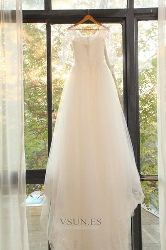 Vestido de novia Elegante Encaje Abalorio Pera Cremallera Corte-A - Página 6