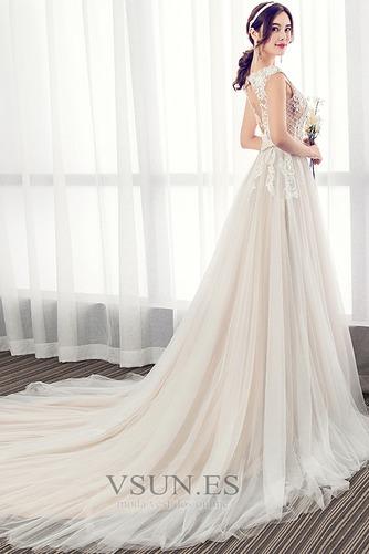 Vestido de novia Elegante Cola Barriba Verano Escote en V Capa de encaje - Página 3