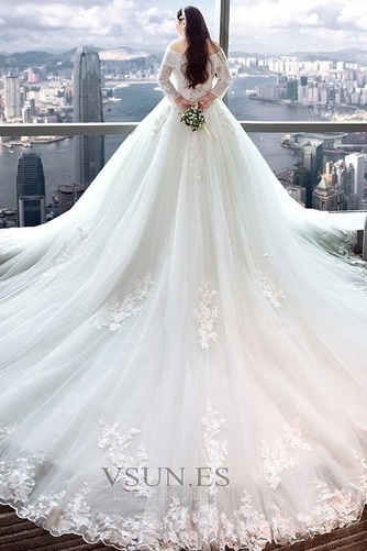 Vestido de novia Capa de encaje Apliques Triángulo Invertido largo Natural - Página 5