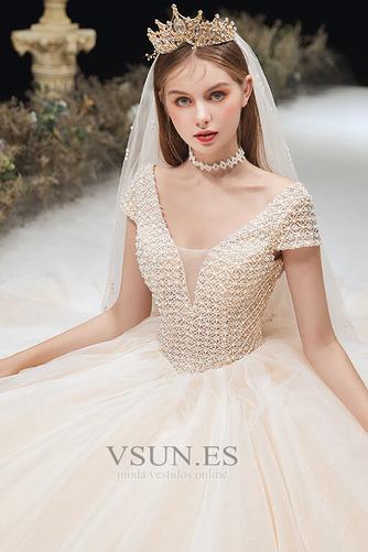 Vestido de novia Formal Cordón Corte-A Escote en V Capa Multi Cola Capilla - Página 5