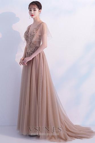 Vestido de fiesta Encaje tul Natural Elegante Falta Cola Barriba - Página 3