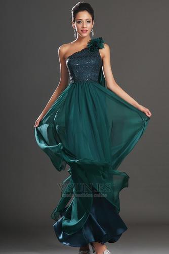 Vestido de noche Elegante Encaje Un sólo hombro Rosetón Acentuado Espalda medio descubierto - Página 3