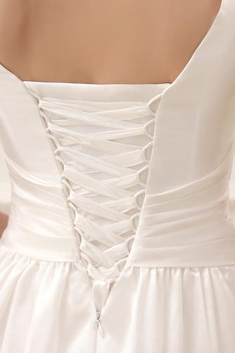 Vestido de novia Informal Sin mangas Escote en V Volantes Adorno Corte-A - Página 3
