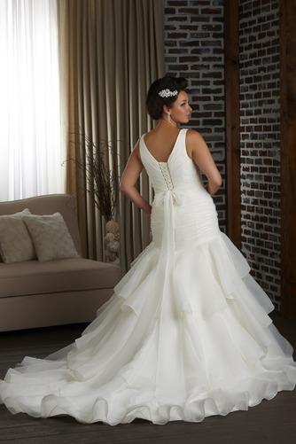 Vestido de novia Corte Sirena Organza Espalda medio descubierto Cola Capilla - Página 2