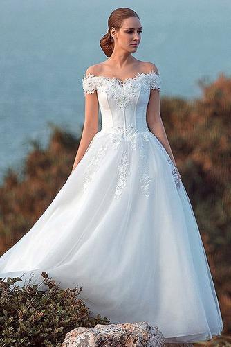 Vestido de novia largo tul primavera Bola Cordón Escote con Hombros caídos - Página 1