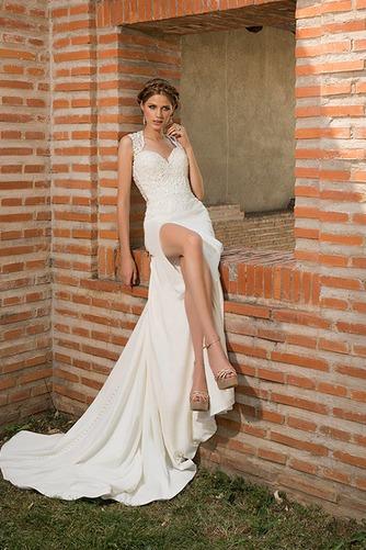 Vestido de novia Verano Satén Elástico Queen Anne Playa Apliques Cola Catedral - Página 1