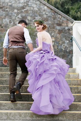 Vestido de novia Asimétrico Dobladillo Romántico Corte-A Escalonado - Página 2