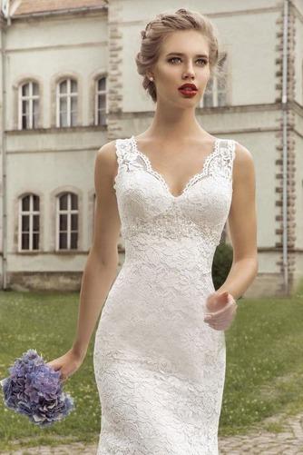 Vestido de novia Escote en V largo Apliques Fuera de casa Natural Moderno - Página 3