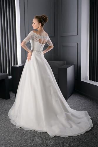 Vestido de novia Escote con Hombros caídos Manga corta Otoño Corte-A - Página 2