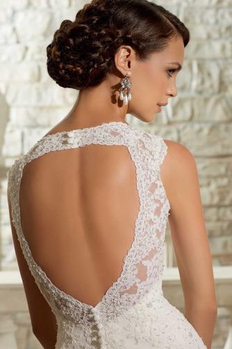 Vestido de novia Apliques Natural Espalda medio descubierto largo Encaje - Página 3