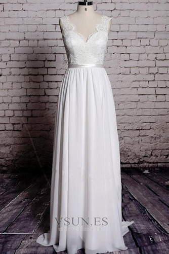 Vestido de novia Playa Apliques Sin mangas Corte-A Escote en V Encaje - Página 1