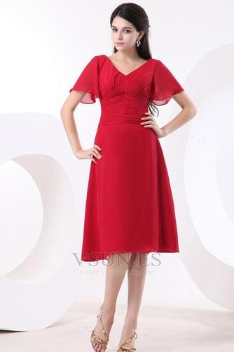 Vestido de dama de honor Escote en V Gasa adulto Natural Oscilación Hasta la Rodilla - Página 1