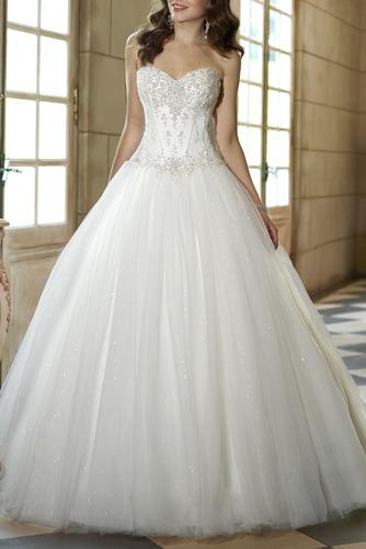 Vestido de novia tul Cola Capilla Escote Corazón Apliques Cordón Iglesia - Página 1